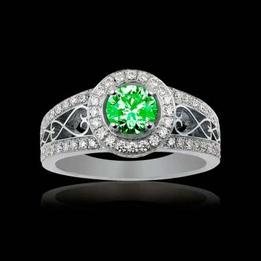 Emerald Engagement Ring Diamond Paving White Gold Tsarine