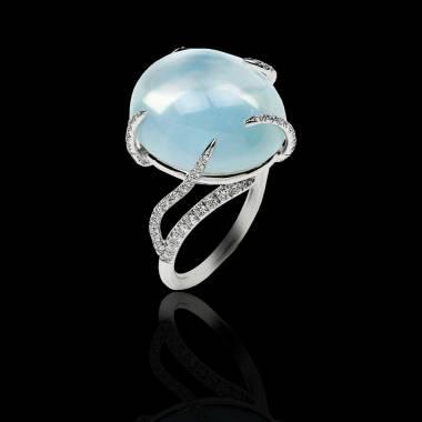 Diamond Engagement Ring  Diamond Paving  White Gold  Moonstone