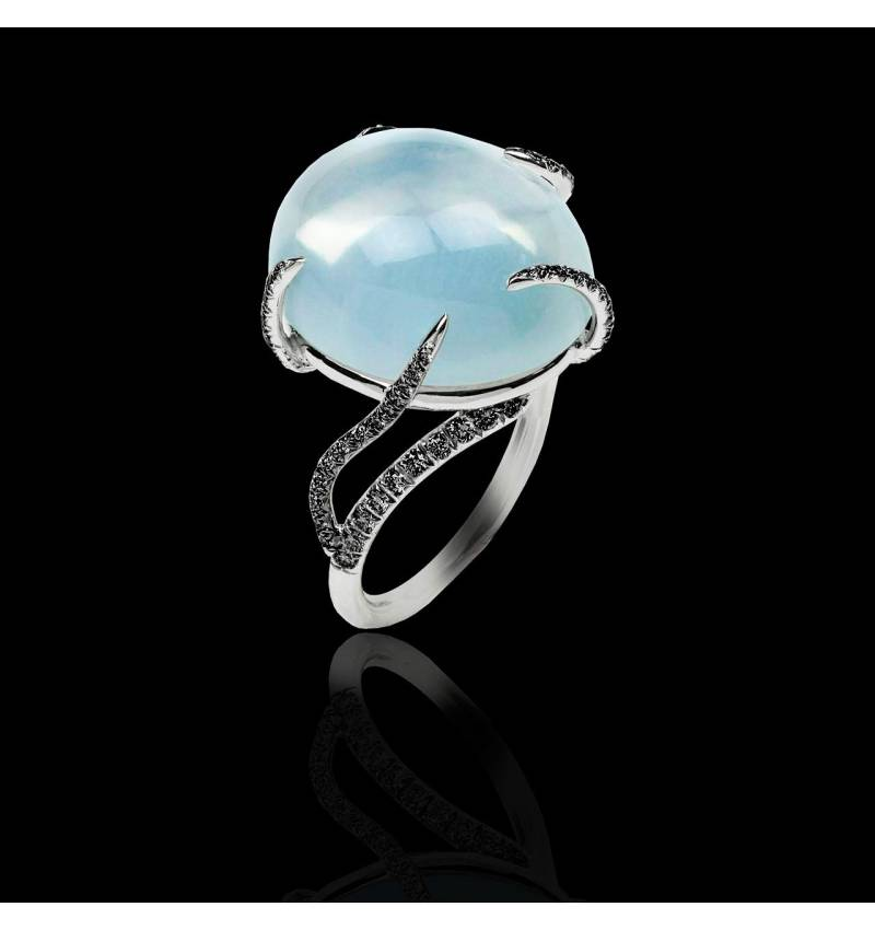 Moonstone Engagement Ring Diamond Paving White Gold Moonstone