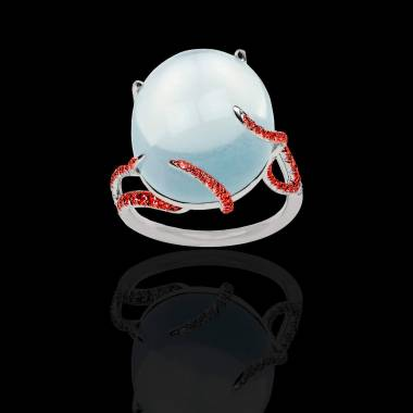 Moonstone Engagement Ring Diamond Paving White Gold Moonstone
