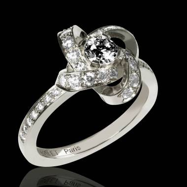 Black Diamond Engagement Ring Diamond Paving White Gold Chloe
