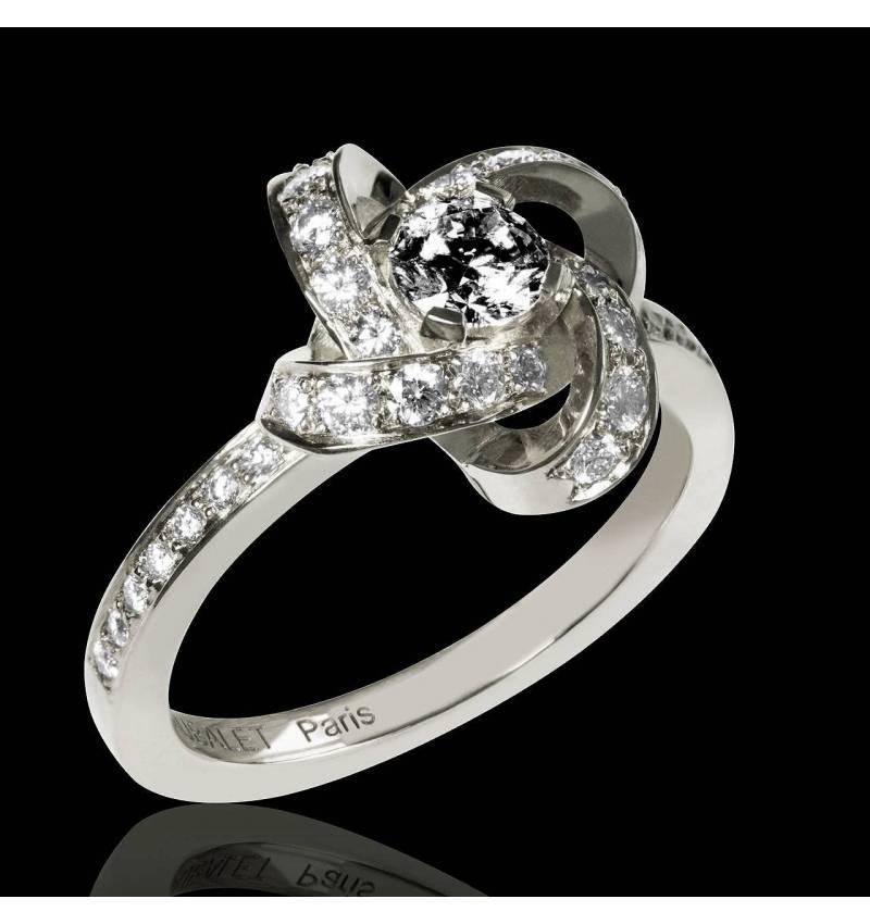 Black Diamond Engagement Ring Diamond Paving White Gold Chloe
