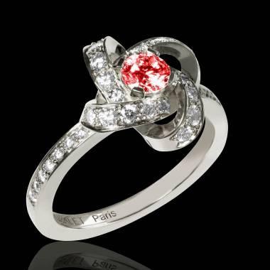 Ruby Engagement Ring  Diamond Paving  White Gold  Chloe