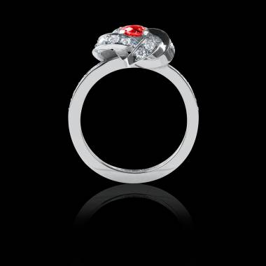 Ruby Engagement Ring  Diamond Paving  White Gold  Chloe