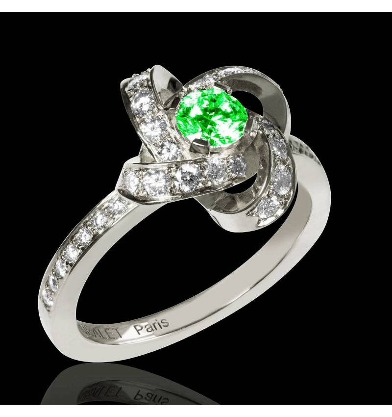 Emerald Engagement Ring Diamond Paving White Gold Chloe