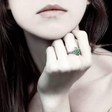 Emerald Engagement Ring  Diamond Paving  White Gold  Chloe