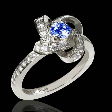 Blue Sapphire Engagement Ring Diamond Paving White Gold Chloe