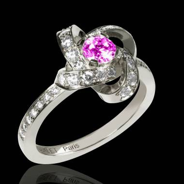 Pink Sapphire Engagement Ring Diamond Paving White Gold Chloe