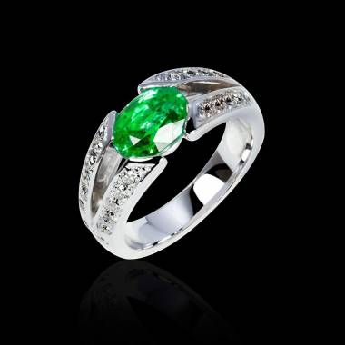 Emerald Engagement Ring Diamond Paving  White Gold  Isabelle