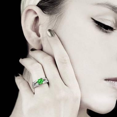 Emerald Engagement Ring Diamond Paving  White Gold  Isabelle