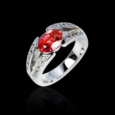 Ruby Engagement Ring Diamond Paving White Gold Isabelle
