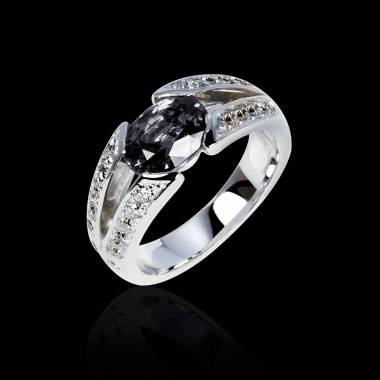 Black Diamond Engagement Ring Diamond Paving White Gold Isabelle