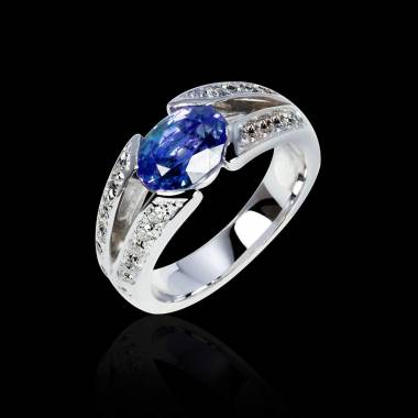 Blue Sapphire Engagement Ring Diamond Paving White Gold Isabelle