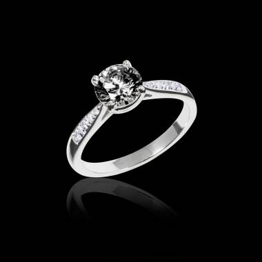 Black Diamond Engagement Ring  Diamond Paving  White Gold  Angela