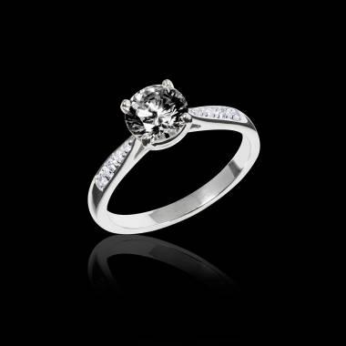 Black Diamond Engagement Ring  Diamond Paving  White Gold  Angela