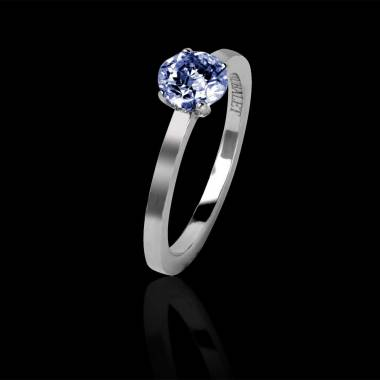 Blue sapphire engagement ring white gold Judith solo