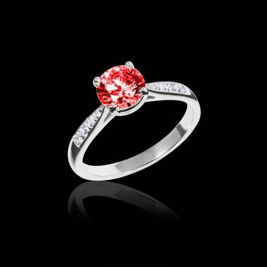 Ruby Engagement Ring Diamond Paving White Gold Angela
