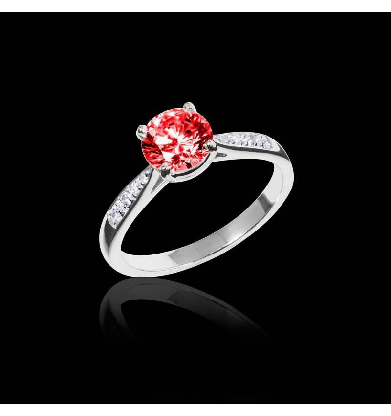 Ruby Engagement Ring Diamond Paving White Gold Angela