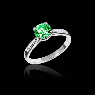 Emerald Engagement Ring  Diamond Paving  White Gold  Angela