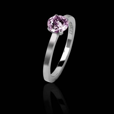 Pink sapphire engagement ring white gold Judith solo
