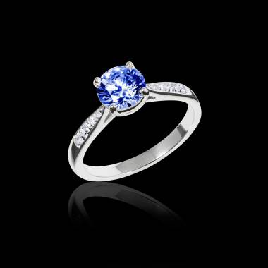 Blue Sapphire Engagement Ring Diamond Paving White Gold Angela