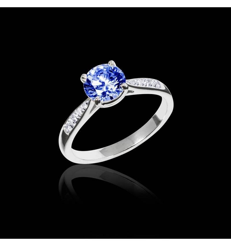 Blue Sapphire Engagement Ring Diamond Paving White Gold Angela