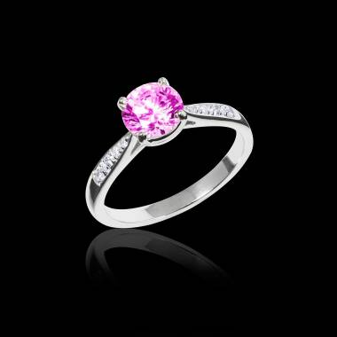 Pink Sapphire Engagement Ring Diamond Paving White Gold Angela