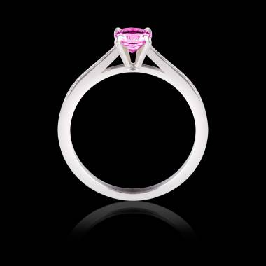 Pink Sapphire Engagement Ring Diamond Paving White Gold Elodie