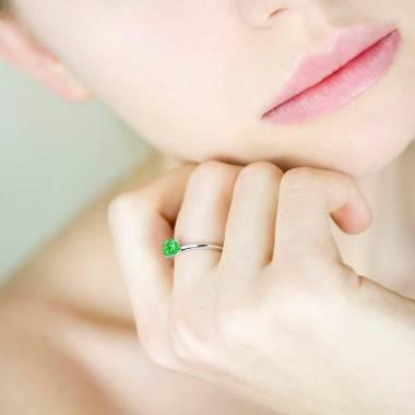 Emerald Engagement Ring White Gold Valentina