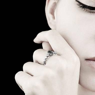 Black Diamond Engagement Ring White Gold Elsa