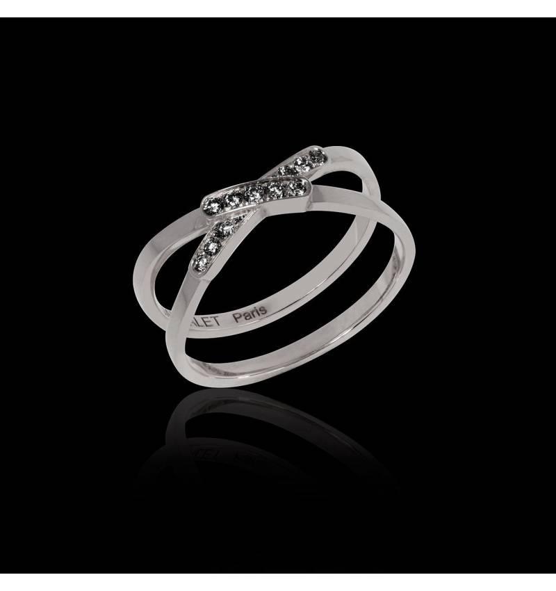 Black Diamond Engagement Ring White Gold Tifène