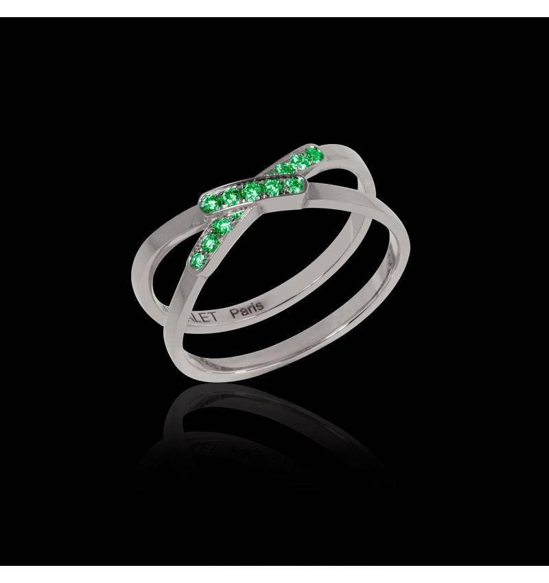 Emerald Engagement Ring White Gold Tifène