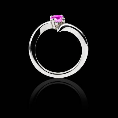 Pink Sapphire Engagement Ring White Gold Serpentine