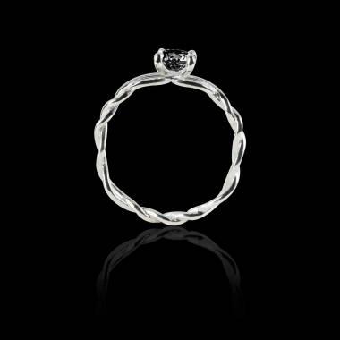 Black Diamond Engagement Ring White Gold Entrelassée