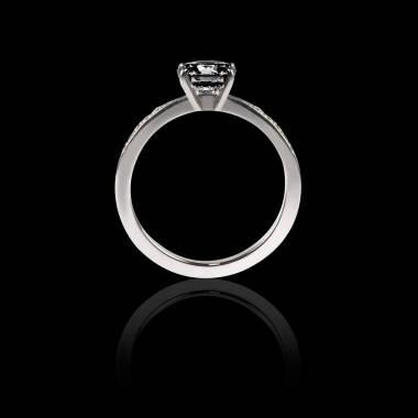 Black Diamond Engagement Ring Diamond Paving White Gold Judith