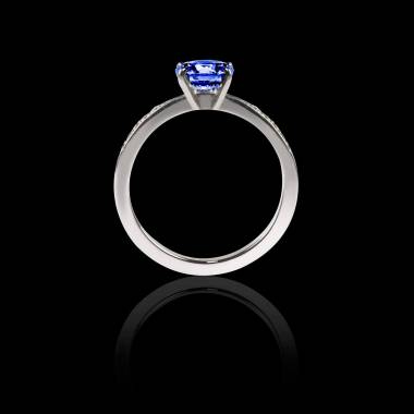 Blue Sapphire Engagement Ring Diamond Paving White Gold  Judith