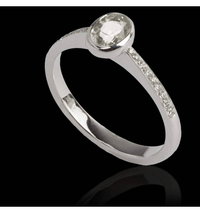 Diamond Engagement Ring Diamond Paving White Gold Oval Moon