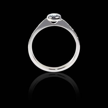 Diamond Engagement Ring Diamond Paving White Gold Oval Moon