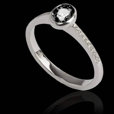 Black Diamond Engagement Ring Diamond Paving White Gold Ovale Moon