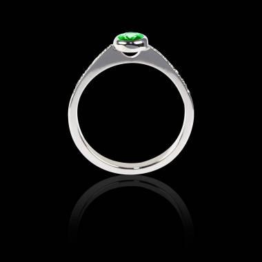 Emerald Engagement Ring Diamond Paving White Gold Ovale Moon