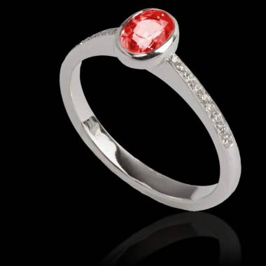 Ruby Engagement Ring Diamond Paving White Gold Ovale Moon