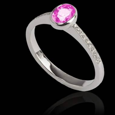 Pink Sapphire Engagement Ring Diamond Paving White Gold Ovale Moon