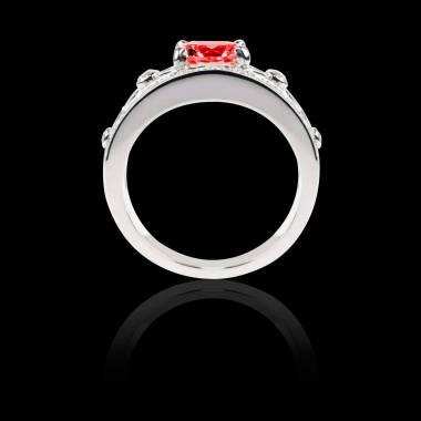 Ruby Engagement Ring White Gold Rond Regina Suprema