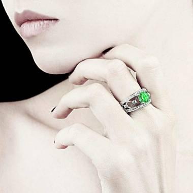Emerald Engagement Ring White Gold Round Regina Suprema