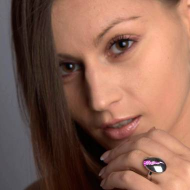 Engagement Ring Pink Sapphire Paving White Gold Quake