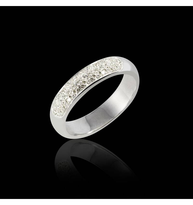 White Gold Wedding Band Saturne