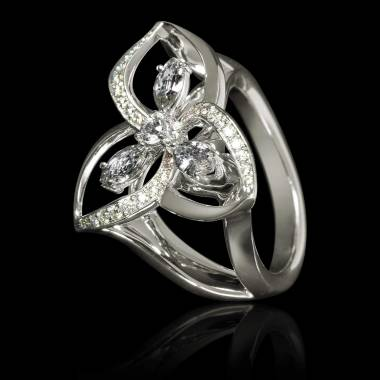 Diamond Engagement Ring Diamond Paving White Gold Estelle