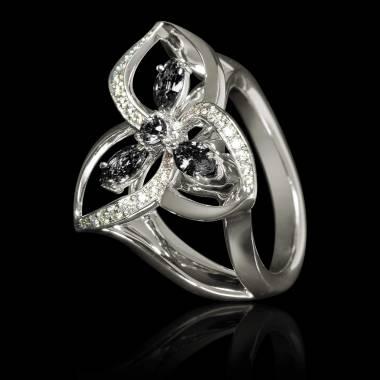 Black Diamond Engagement Ring Diamond Paving White Gold Estelle