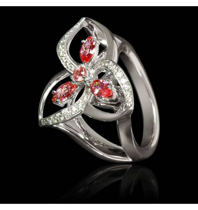 Ruby Engagement Ring Diamond Paving White Gold Estelle