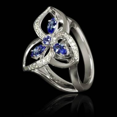Blue Sapphire Engagement Ring Diamond Paving White Gold Estelle